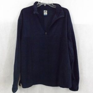 Mens RUSSELL Fleece Pullover Jacket - Navy Blue -L